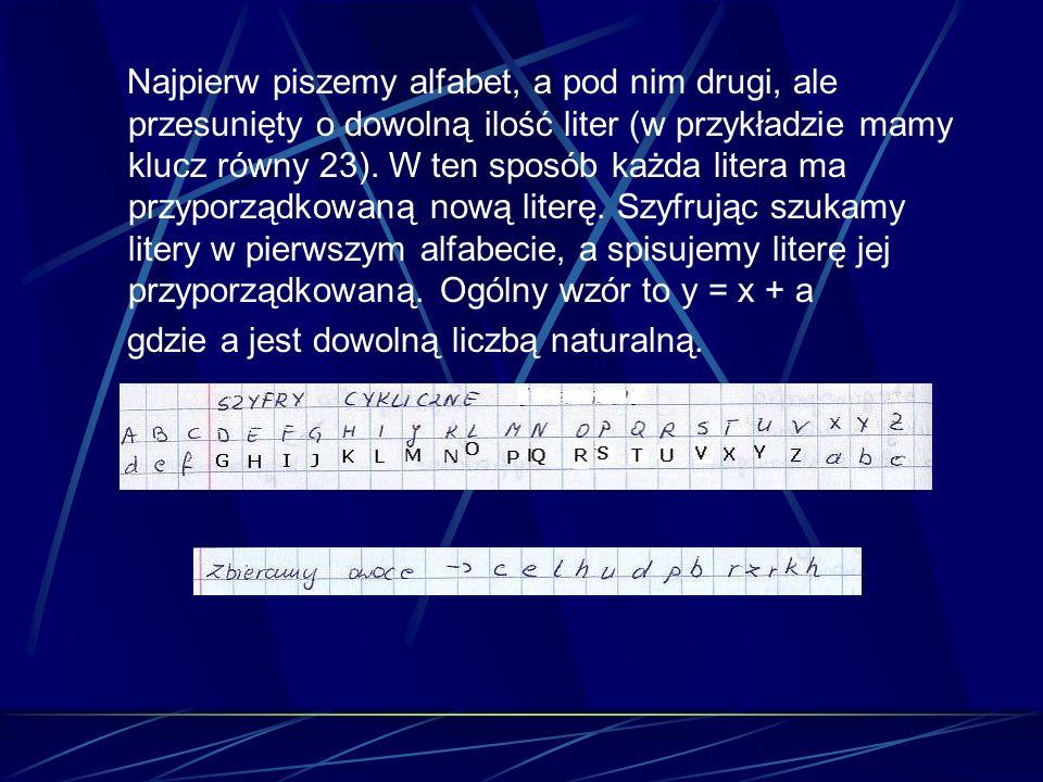 Najpierw piszemy alfabet, a pod nim drugi, ale przesunięty o dowolną ilość liter (w przykładzie mamy klucz równy 23). W ten sposób każda litera ma przyporządkowaną nową literę. Szyfrując szukamy litery w pierwszym alfabecie, a spisujemy literę jej przyporządkowaną. Ogólny wzór to y = x + a
