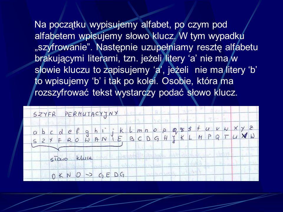 Na początku wypisujemy alfabet, po czym pod alfabetem wpisujemy słowo klucz.