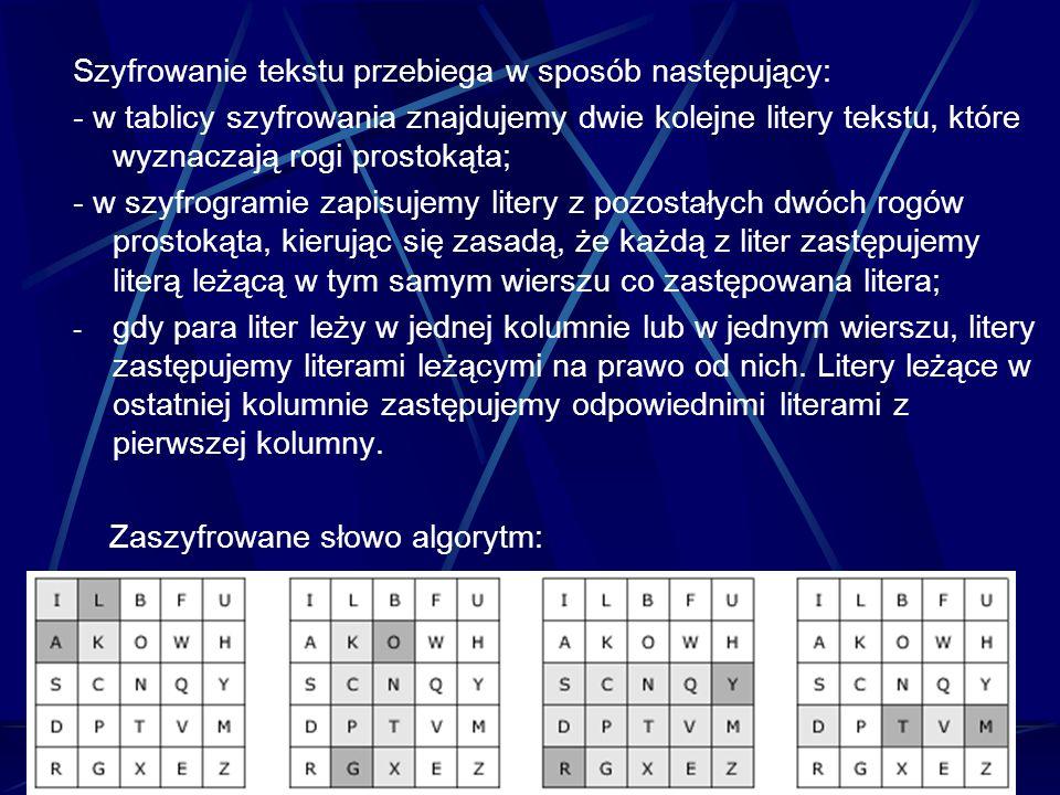 Szyfrowanie tekstu przebiega w sposób następujący: