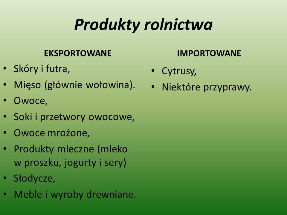Produkty rolnictwa Skóry i futra, Cytrusy, Mięso (głównie wołowina).