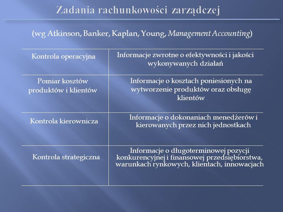 Zadania rachunkowości zarządczej