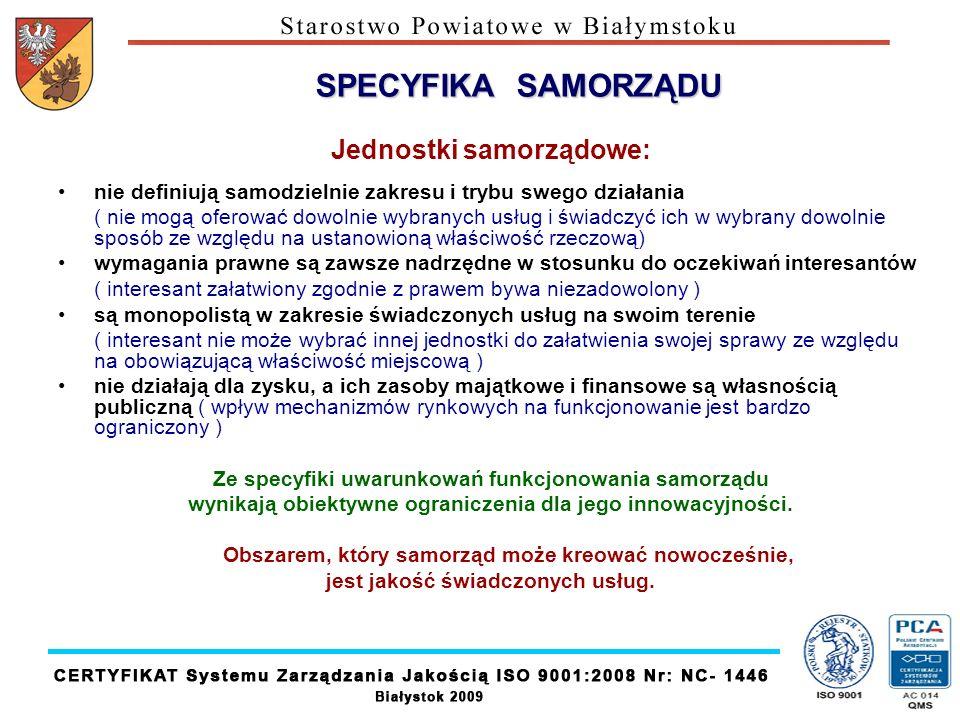 SPECYFIKA SAMORZĄDU Jednostki samorządowe: