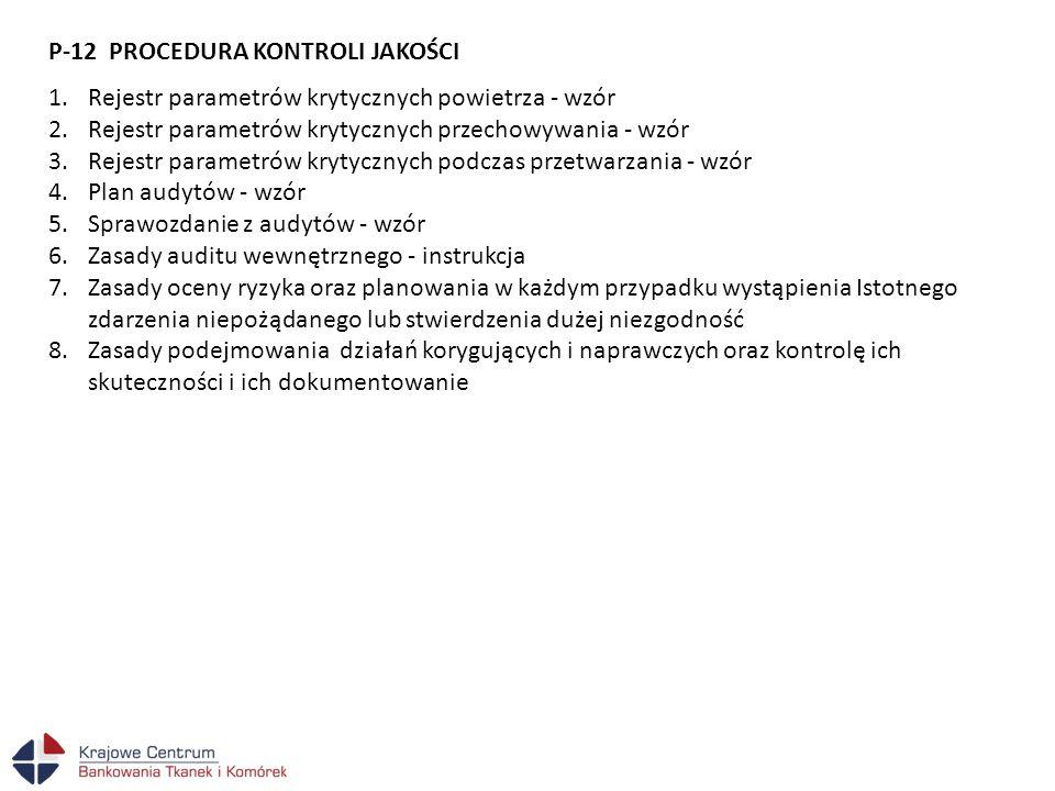 P-12 PROCEDURA KONTROLI JAKOŚCI