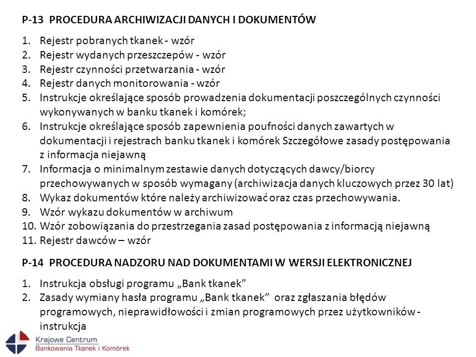 P-13 PROCEDURA ARCHIWIZACJI DANYCH I DOKUMENTÓW