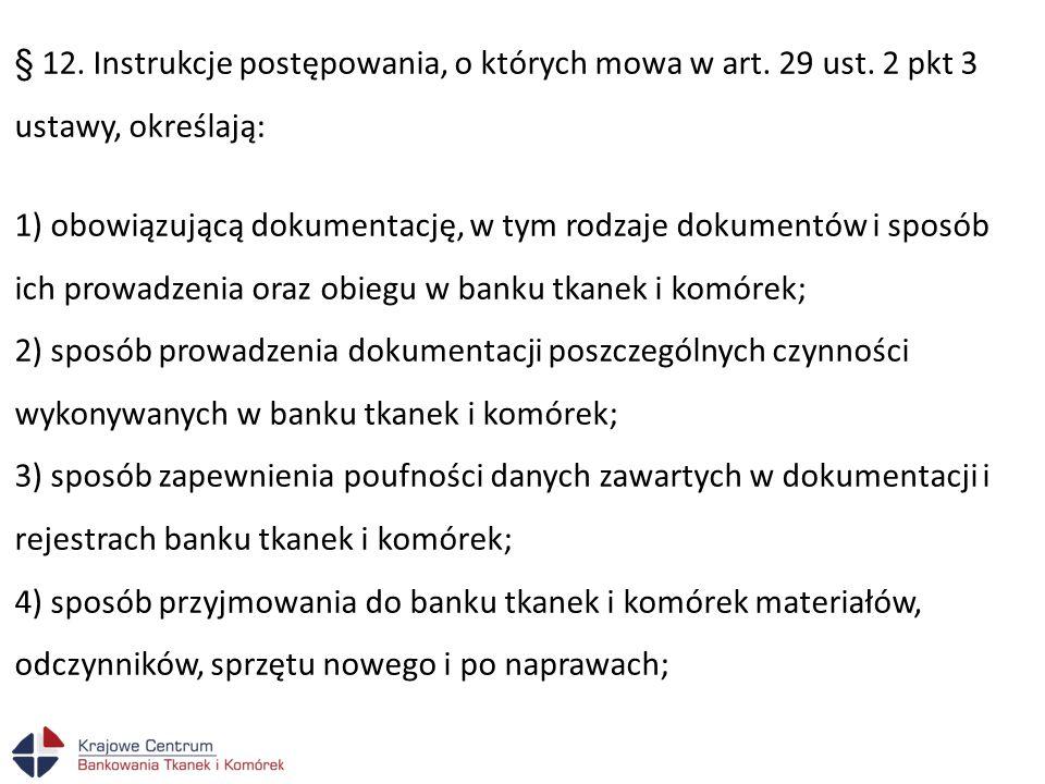 § 12. Instrukcje postępowania, o których mowa w art. 29 ust