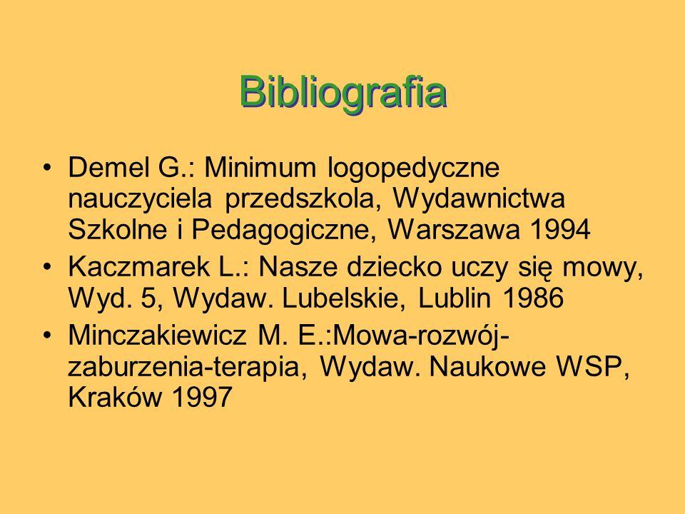 Bibliografia Demel G.: Minimum logopedyczne nauczyciela przedszkola, Wydawnictwa Szkolne i Pedagogiczne, Warszawa 1994.