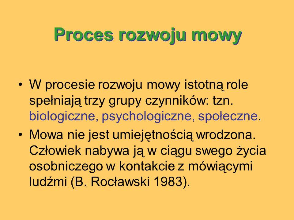 Proces rozwoju mowy W procesie rozwoju mowy istotną role spełniają trzy grupy czynników: tzn. biologiczne, psychologiczne, społeczne.