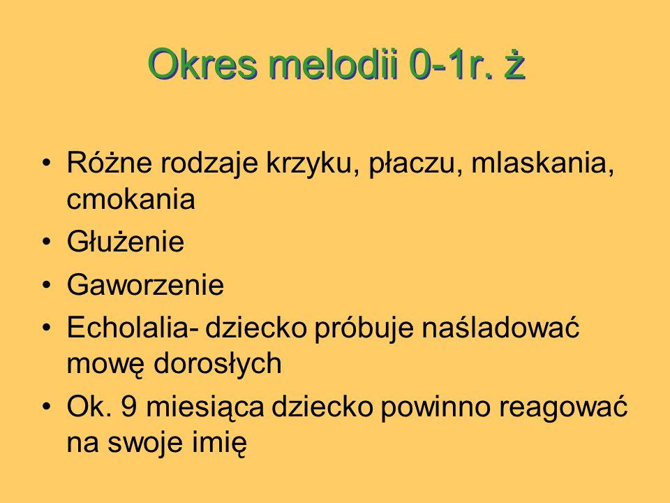 Okres melodii 0-1r. ż Różne rodzaje krzyku, płaczu, mlaskania, cmokania. Głużenie. Gaworzenie.