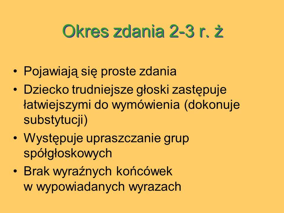 Okres zdania 2-3 r. ż Pojawiają się proste zdania