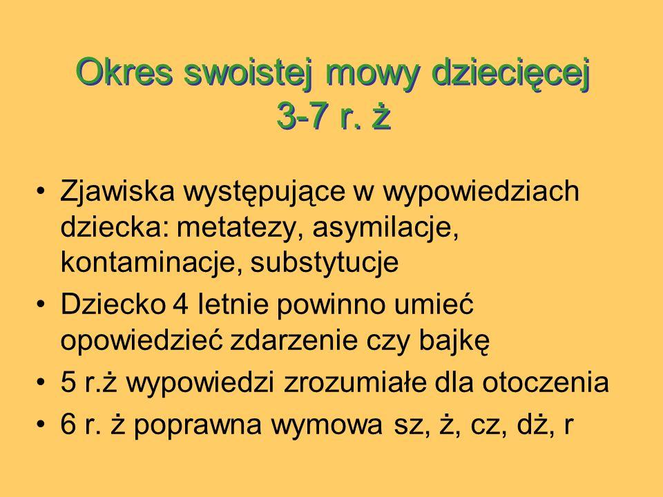 Okres swoistej mowy dziecięcej 3-7 r. ż
