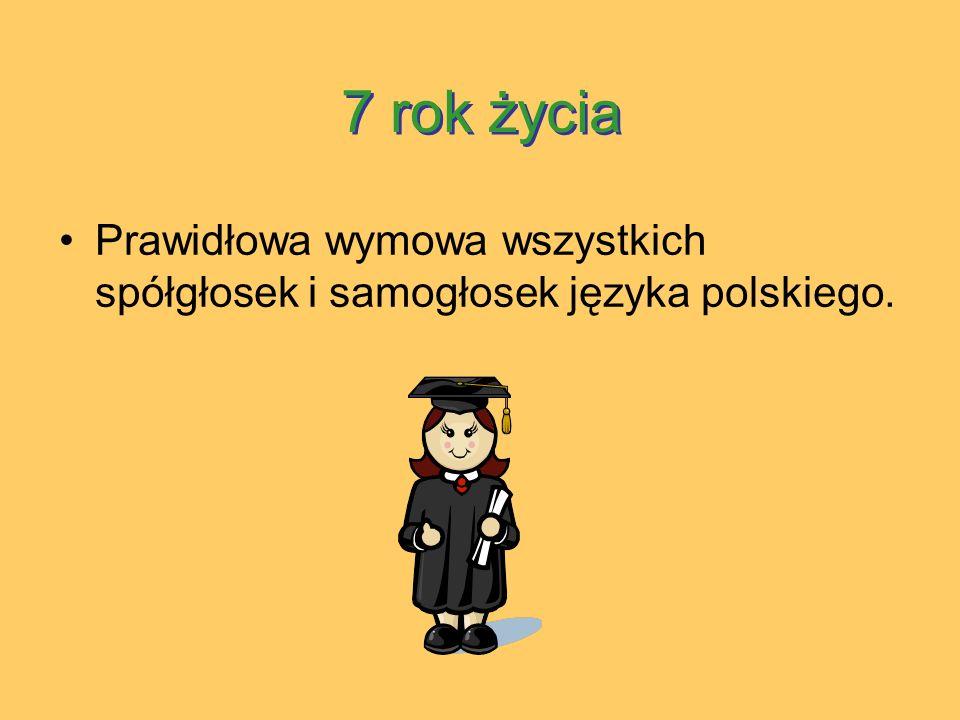7 rok życia Prawidłowa wymowa wszystkich spółgłosek i samogłosek języka polskiego.