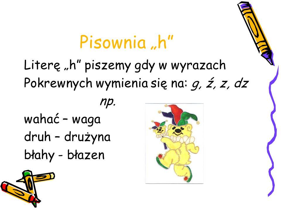 """Pisownia """"h Literę """"h piszemy gdy w wyrazach"""