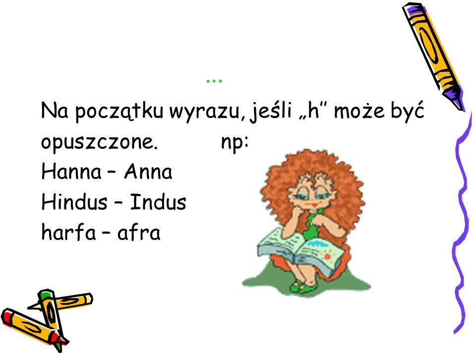 """… Na początku wyrazu, jeśli """"h'' może być opuszczone. np: Hanna – Anna"""