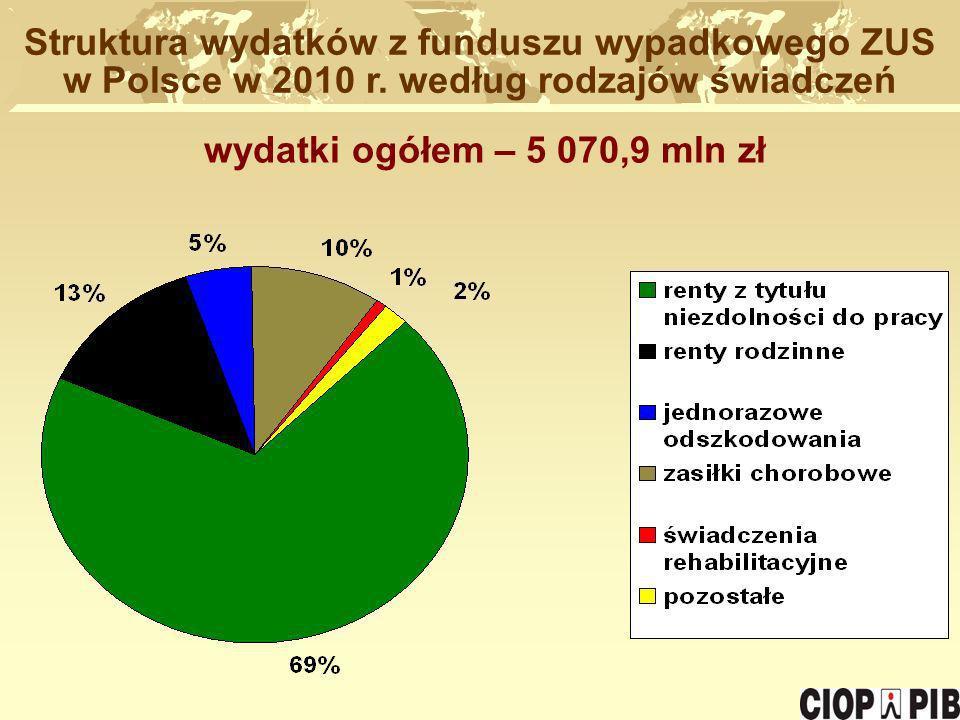 Struktura wydatków z funduszu wypadkowego ZUS w Polsce w 2010 r