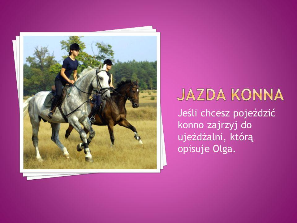 Jazda konna Jeśli chcesz pojeździć konno zajrzyj do ujeżdżalni, którą opisuje Olga.