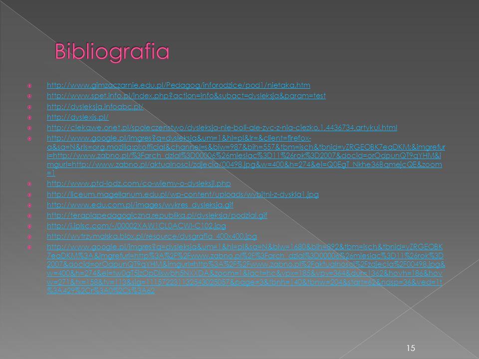 Bibliografia http://www.gimzaczarnie.edu.pl/Pedagog/inforodzice/pod1/nietaka.htm