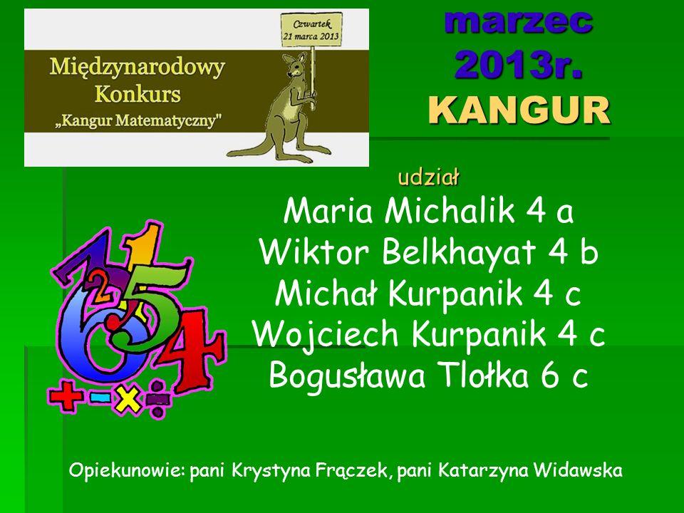 marzec 2013r. KANGUR Maria Michalik 4 a Wiktor Belkhayat 4 b