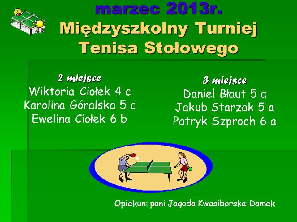 marzec 2013r. Międzyszkolny Turniej Tenisa Stołowego
