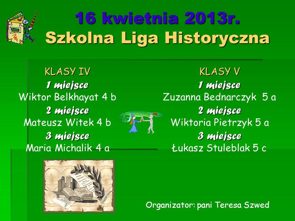 16 kwietnia 2013r. Szkolna Liga Historyczna