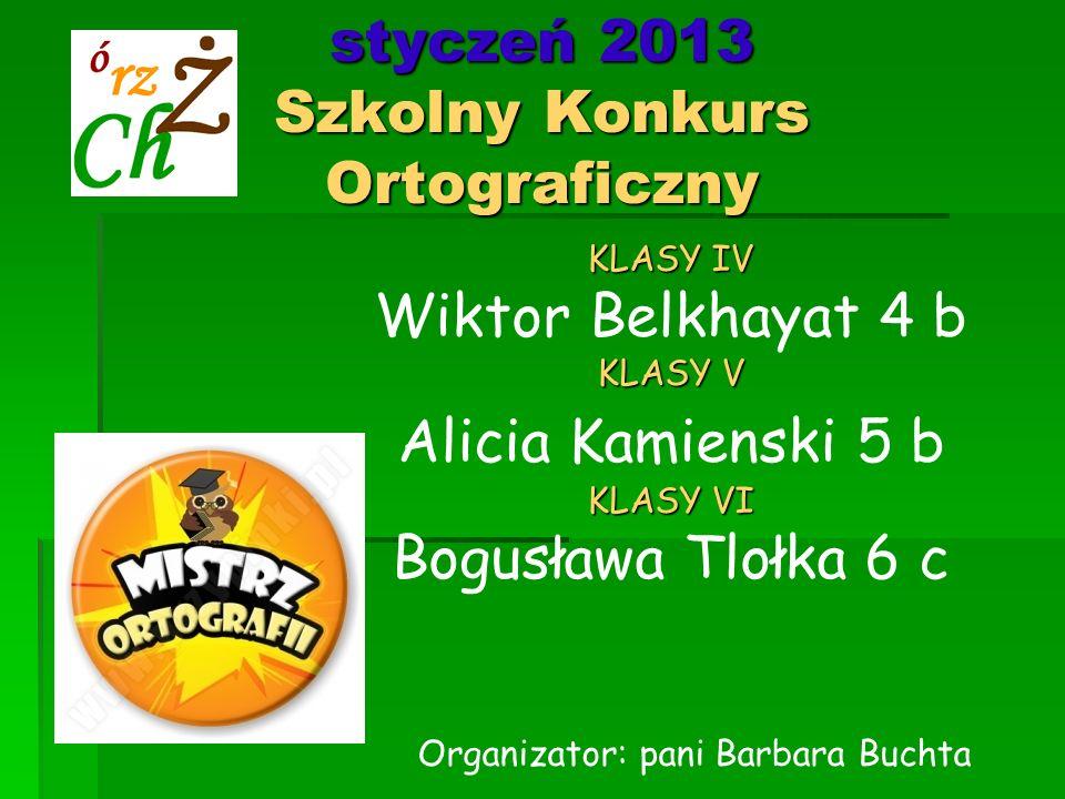 styczeń 2013 Szkolny Konkurs Ortograficzny