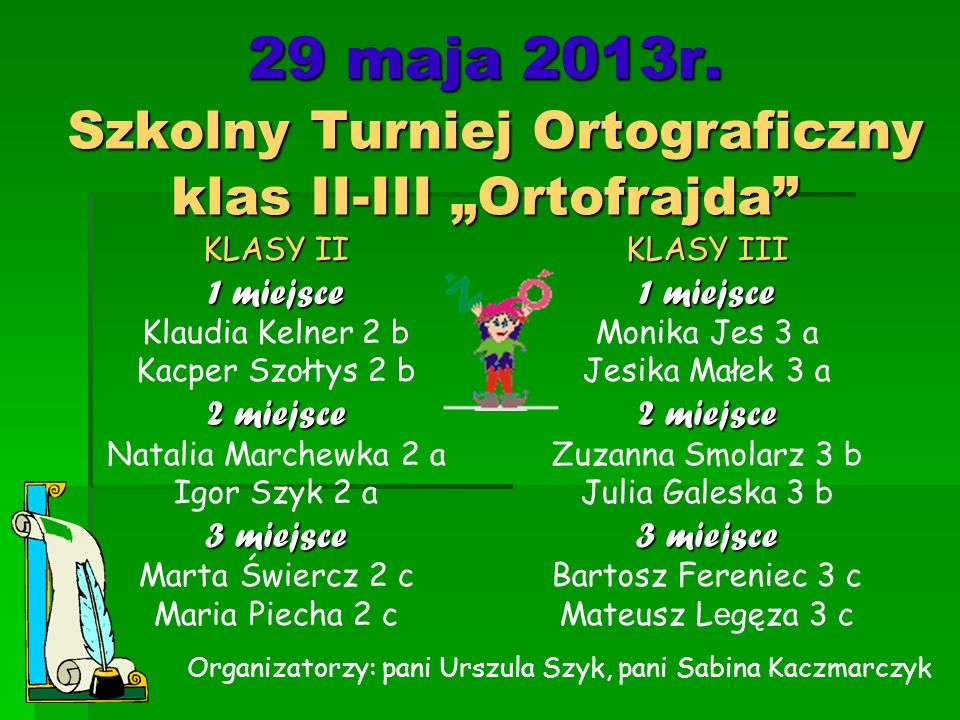 """29 maja 2013r. Szkolny Turniej Ortograficzny klas II-III """"Ortofrajda"""