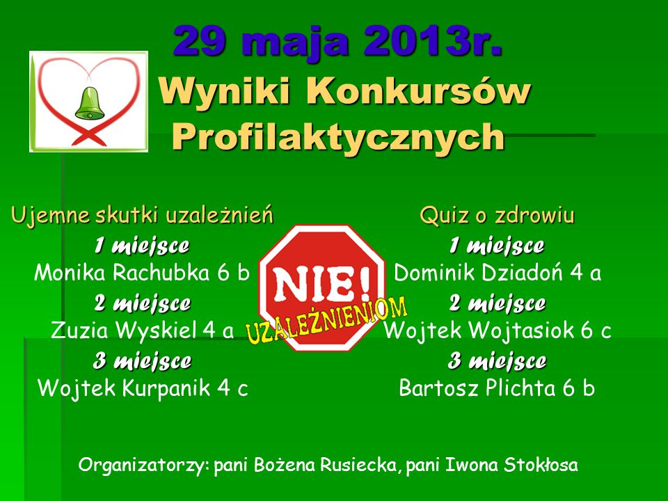 29 maja 2013r. Wyniki Konkursów Profilaktycznych