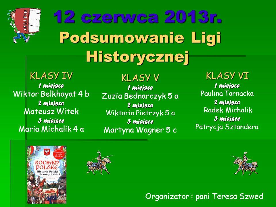 12 czerwca 2013r. Podsumowanie Ligi Historycznej