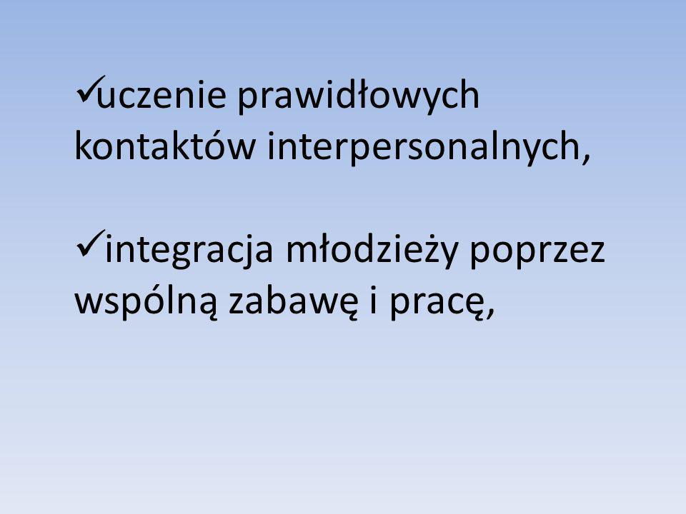 uczenie prawidłowych kontaktów interpersonalnych,