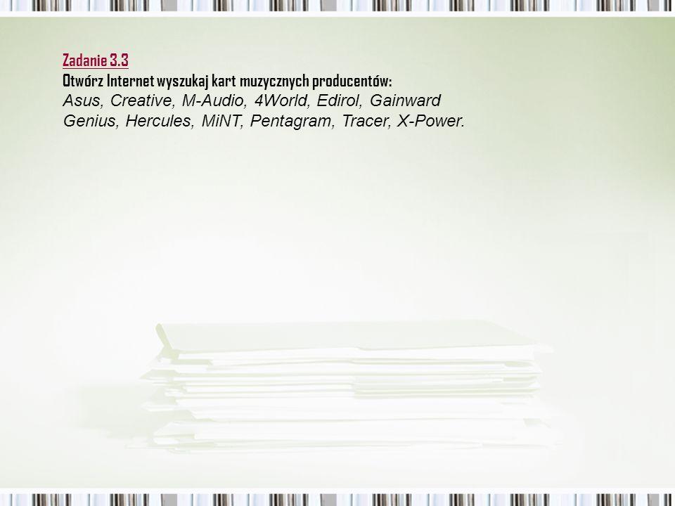Zadanie 3.3 Otwórz Internet wyszukaj kart muzycznych producentów: Asus, Creative, M-Audio, 4World, Edirol, Gainward.