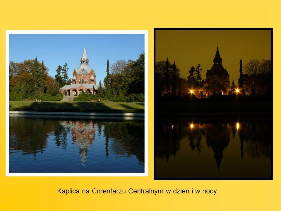 Kaplica na Cmentarzu Centralnym w dzień i w nocy