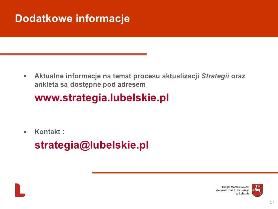 Dodatkowe informacje strategia@lubelskie.pl