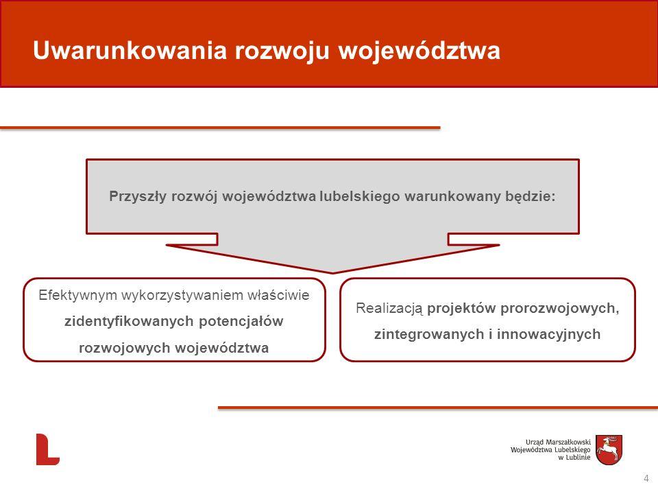 Przyszły rozwój województwa lubelskiego warunkowany będzie: