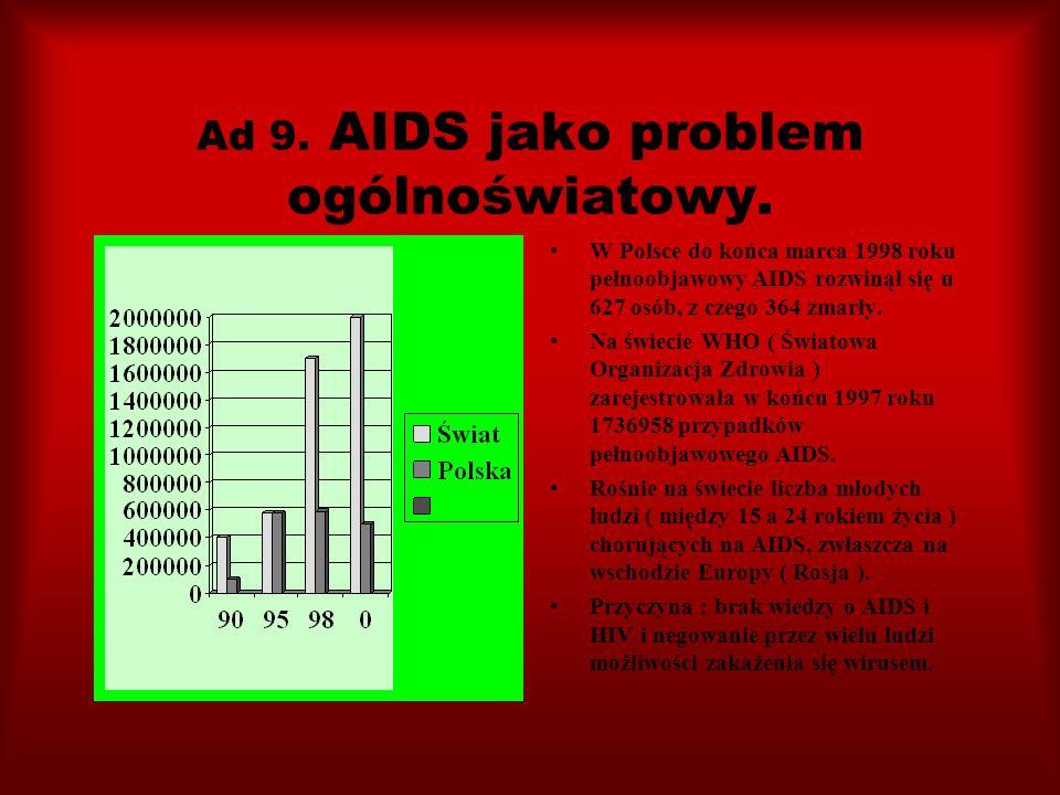Ad 9. AIDS jako problem ogólnoświatowy.
