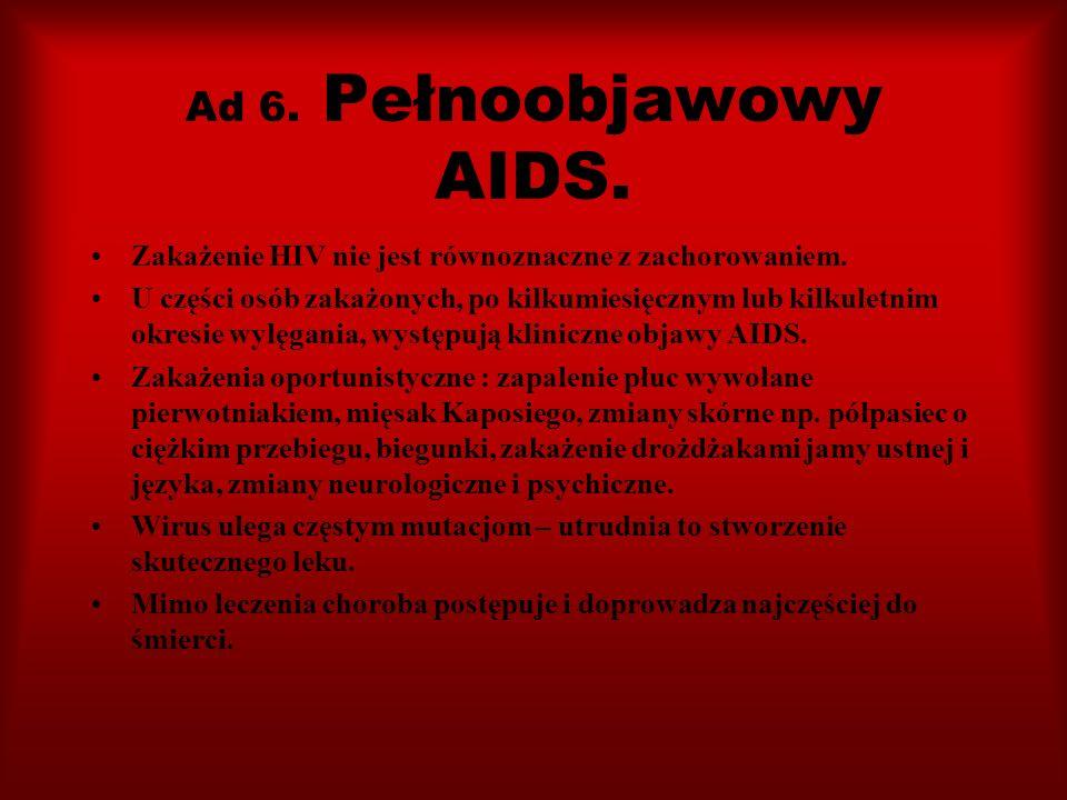 Ad 6. Pełnoobjawowy AIDS. Zakażenie HIV nie jest równoznaczne z zachorowaniem.
