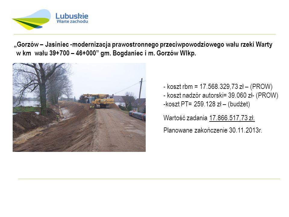 """""""Gorzów – Jasiniec -modernizacja prawostronnego przeciwpowodziowego wału rzeki Warty"""
