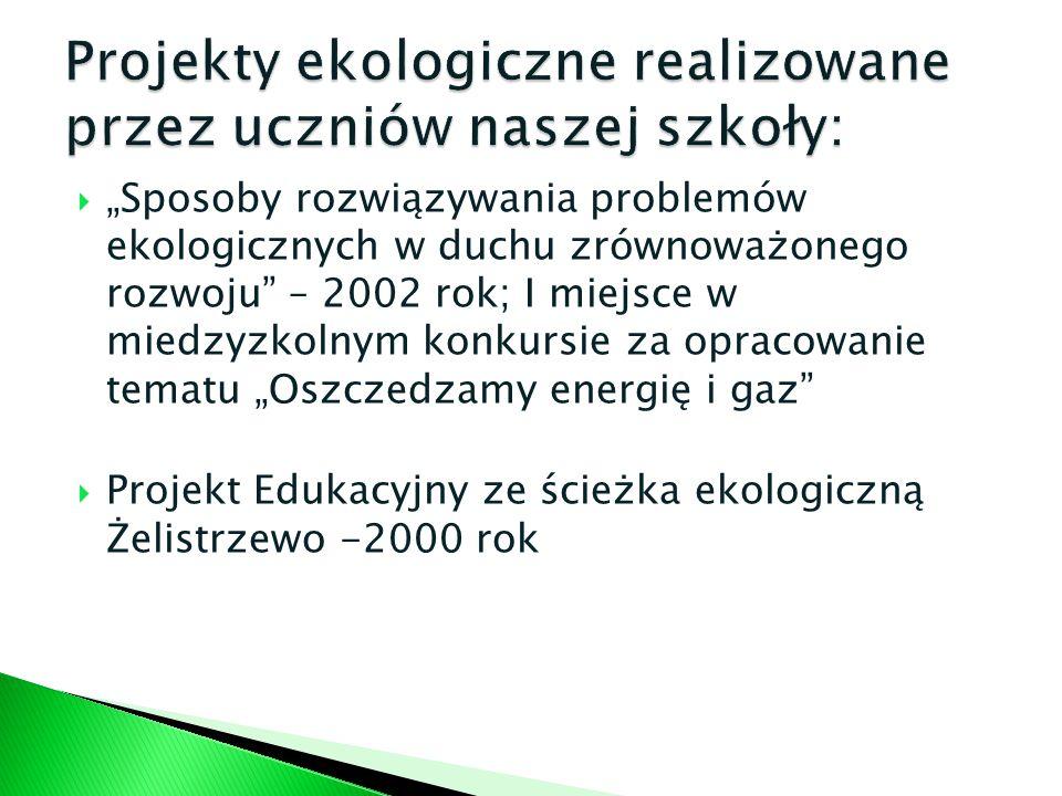 Projekty ekologiczne realizowane przez uczniów naszej szkoły: