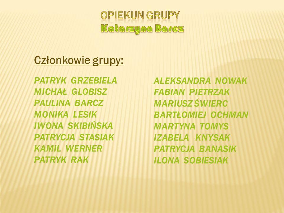 Członkowie grupy: Opiekun grupy Katarzyna Barcz Patryk Grzebiela