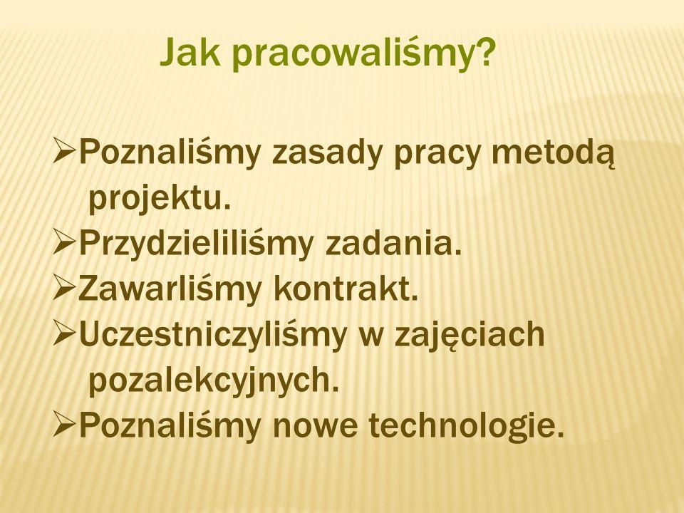 Jak pracowaliśmy Poznaliśmy zasady pracy metodą projektu.