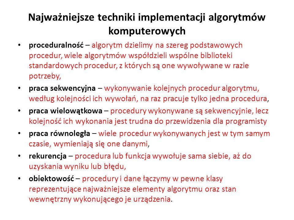 Najważniejsze techniki implementacji algorytmów komputerowych