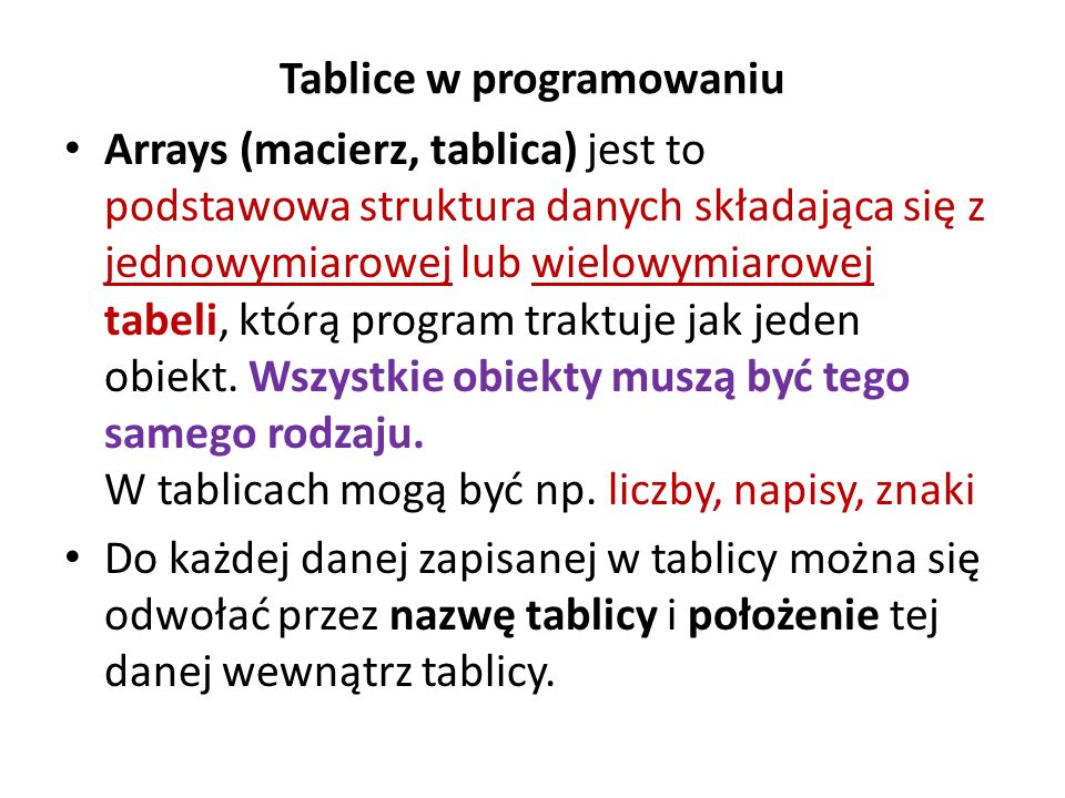 Tablice w programowaniu