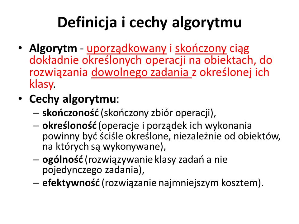 Definicja i cechy algorytmu