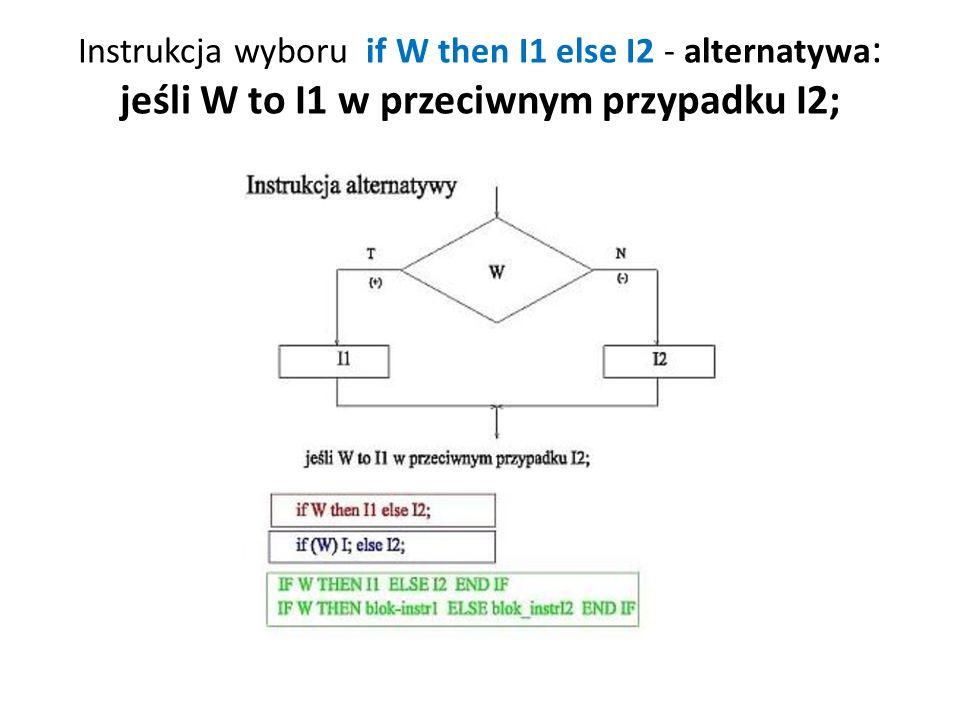 Instrukcja wyboru if W then I1 else I2 - alternatywa: jeśli W to I1 w przeciwnym przypadku I2;