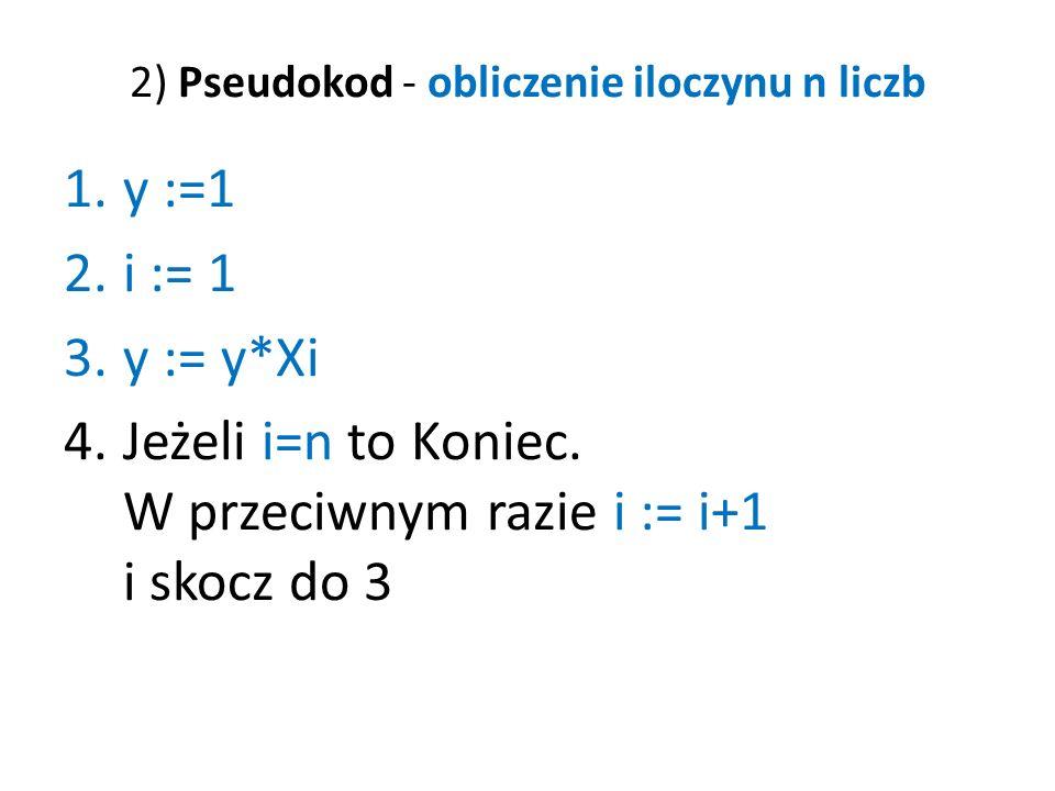 2) Pseudokod - obliczenie iloczynu n liczb