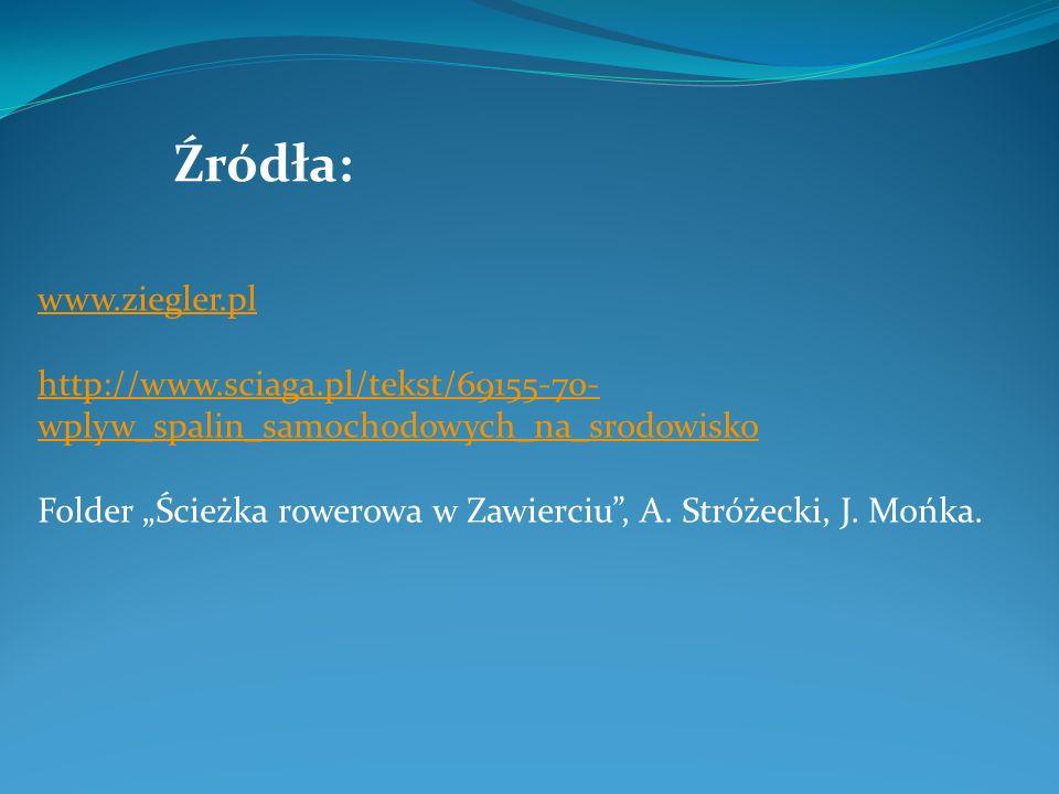 Źródła: www.ziegler.pl. http://www.sciaga.pl/tekst/69155-70-wplyw_spalin_samochodowych_na_srodowisko.