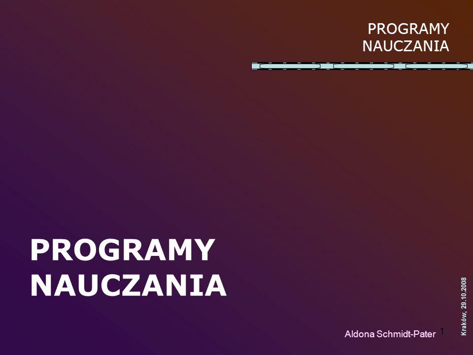 PROGRAMY NAUCZANIA PROGRAMY NAUCZANIA Aldona Schmidt-Pater