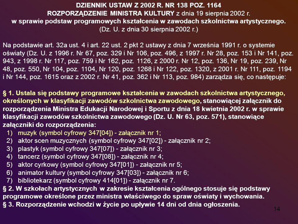 DZIENNIK USTAW Z 2002 R. NR 138 POZ. 1164