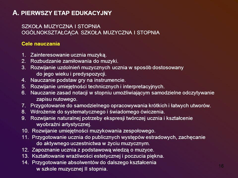 A. PIERWSZY ETAP EDUKACYJNY