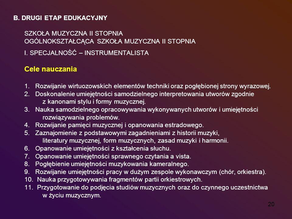 Cele nauczania B. DRUGI ETAP EDUKACYJNY SZKOŁA MUZYCZNA II STOPNIA