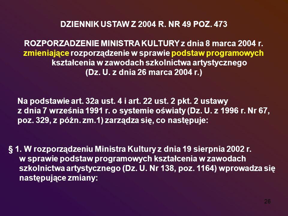 DZIENNIK USTAW Z 2004 R. NR 49 POZ. 473