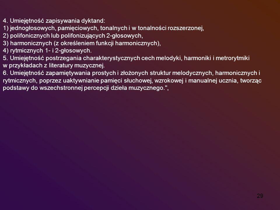 4. Umiejętność zapisywania dyktand:
